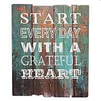 Grateful Heart Wooden Wall Plaque with Hooks