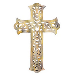 Worn White Wooden Decorative Cross