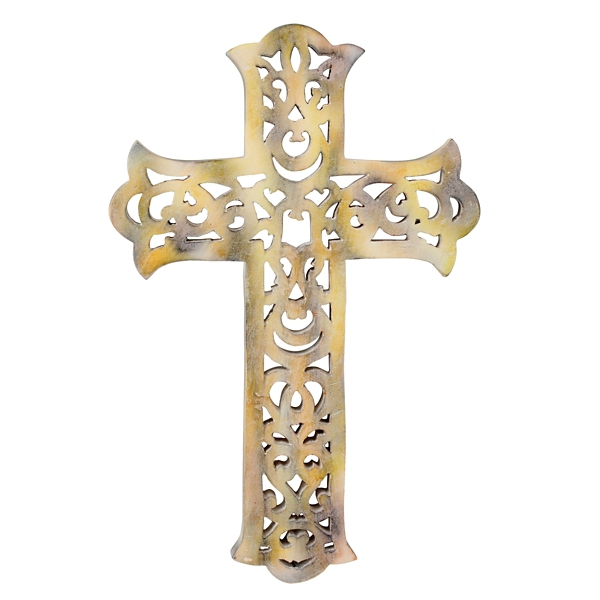 Worn White Wooden Decorative Cross