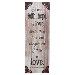 Faith, Hope, & Love Weathered White Wall Plaque