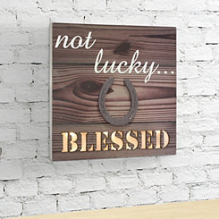 Wooden Not Lucky Pre-Lit Wall Plaque