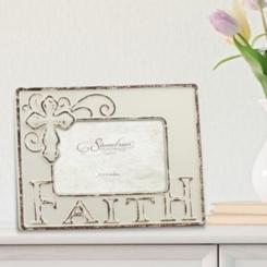 Worn White Ceramic Faith Tabletop Frame, 6x4