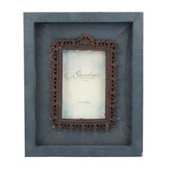Distressed Blue Wood and Vintage Metal Frame, 4x6