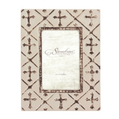 Worn White Ceramic Cross Tabletop Frame, 4x6