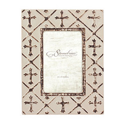 Worn White Ceramic Cross Tabletop Frame, 4x6