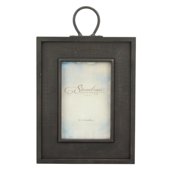 Rustic Wood Frame With Metal Hanging Loop, 4x6