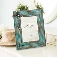 Worn Turquoise Wood with Jeweled Cross Frame, 5x7