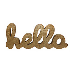 Galvanized Bronze Metal Hello Sign Plaque