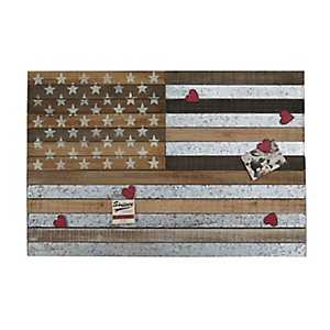 American Flag Wall Plaque with Red Heart Magnets
