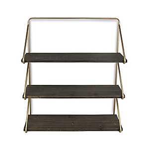 Gold Frame 3-Tiered Wooden Wall Shelf