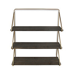 Gold Frame 3-Tiered Wooden Wall Shelf