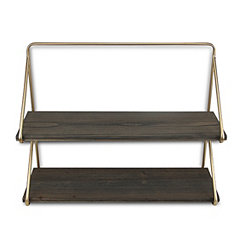 Gold Frame 2-Tiered Wooden Wall Shelf