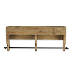 Natural Wooden Shelf with Hanging Rod