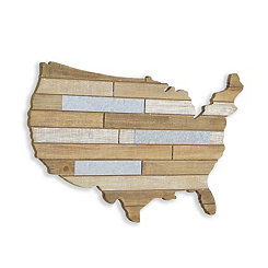 Wood and Metal Plank USA Map Wall Plaque