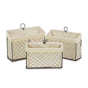 Lined Wire Wall Organizer Baskets, Set of 3
