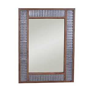 Urban Galvanized Metal and Wood Wall Mirror