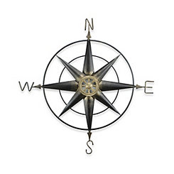 Rusted Metal Compass Wall Plaque