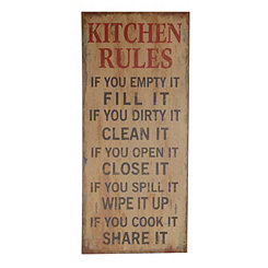 Kitchen Rules Wooden Wall Plaque