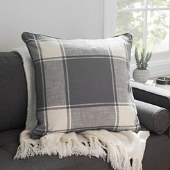 Gray Large Plaid Pillow