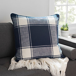 Navy Large Plaid Pillow