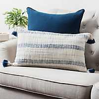 Navy Striped Tassel Pillow