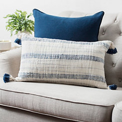 Navy Striped Tassel Pillow