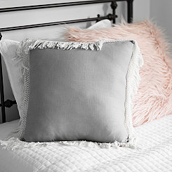 Gray Jaxson Fringe Pillow