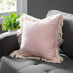 Rose Smoke Jaxson Fringe Pillow