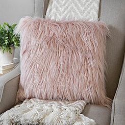 Rose Shag Mongolian Fur Pillow