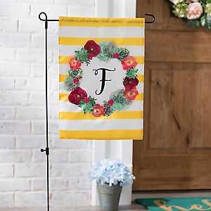 Monogram F Succulent Wreath Flag