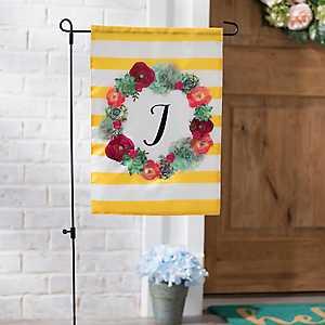 Monogram J Succulent Wreath Flag