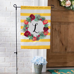 Monogram L Succulent Wreath Flag