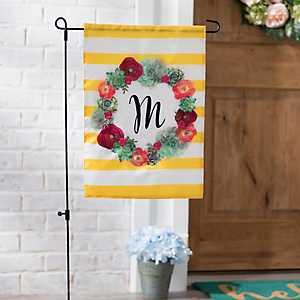 Monogram M Succulent Wreath Flag
