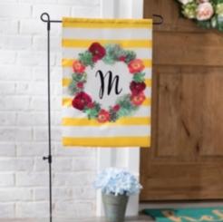 Monogram Succulent Wreath Flags
