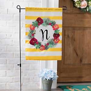 Monogram N Succulent Wreath Flag