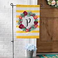 Monogram P Succulent Wreath Flag
