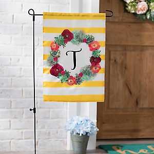 Monogram T Succulent Wreath Flag