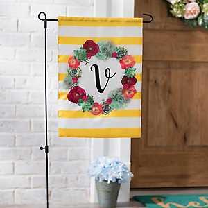 Monogram V Succulent Wreath Flag