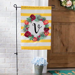 Monogram V Succulent Wreath Flag