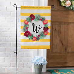 Monogram W Succulent Wreath Flag