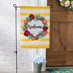Welcome Succulent Wreath Flag