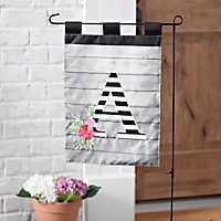 Black and White Stripes Monogram A Flag Set