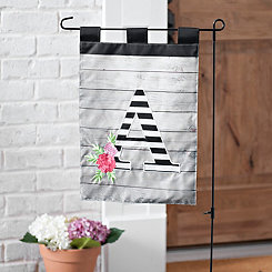 Black and White Stripes Monogram A Flag Set
