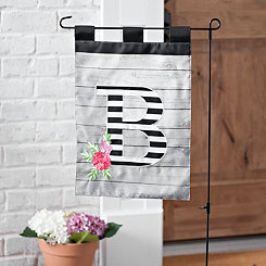 Black and White Stripes Monogram B Flag Set