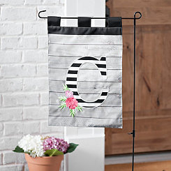 Black and White Stripes Monogram C Flag Set