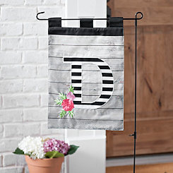 Black and White Stripes Monogram D Flag Set