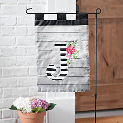 Black and White Stripes Monogram J Flag Set