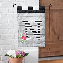 Black and White Stripes Monogram N Flag Set
