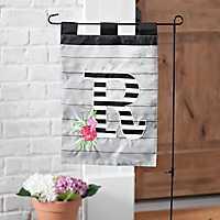 Black and White Stripes Monogram R Flag Set