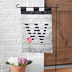 Black and White Stripes Monogram W Flag Set